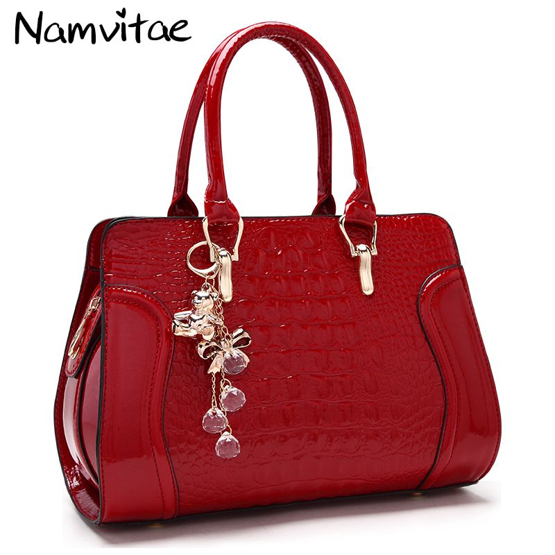 Women leather handles Handbags Crocodile Pattern Leather Shoulder Bag Brand Designer Ladies Red Wedding Tote Bags bolsa feminina imido 2017 luxury brand designer women handbags leather shoulder bag retro tote daily bags for ladies gray bolsa feminina hdg008