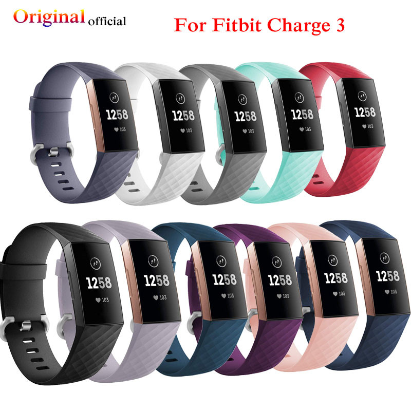US $1 38 35% OFF|Original official for Fitbit Charge 3 Strap sport Replace  Accessories for fitbit band for fitbit charge 3 Band smart watch Oct14-in