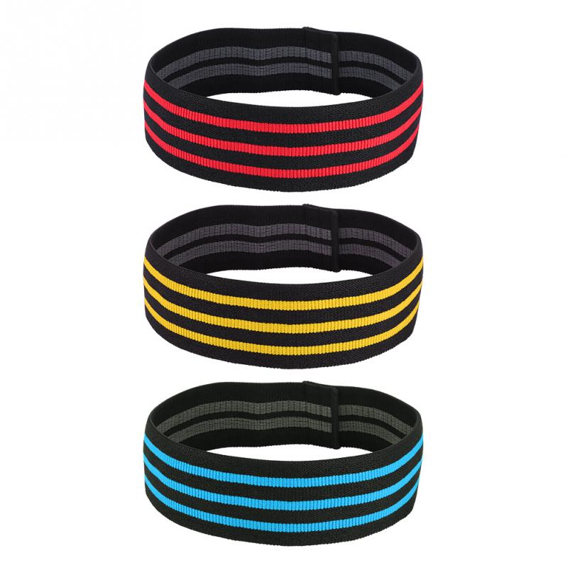 3 Colors Fitness Resistance Bands Exercise Elastic Bands Nylon Yoga Workout Hips & Glutes Bodybuilding Fitness Circle