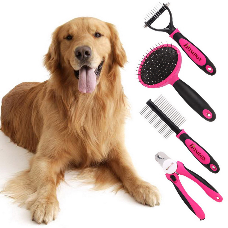 Homdox 4pcs/Dog Pet Dog Cat Hair Grooming Brush Quick Clean Dog Cat Comb Dog Hair Shedding Hair Tool Brush With Nail clippers