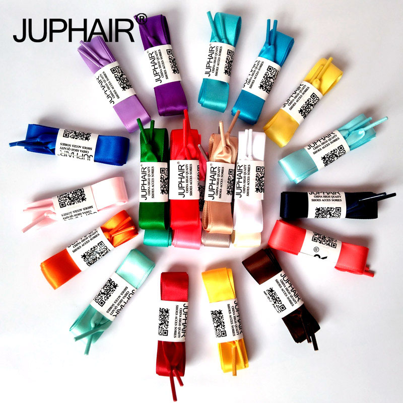 JUP Fashion 120 CM Colorful Fantastic Flat Silk Laces Ribbon Shoelaces Lace Up Sneaker Sports Shoes Lace A pair of Drop Shipping weiou fashion flat silk ribbon shoelaces princess sneaker colorful sport shoes laces with 2cm width metal aglets drop shipping