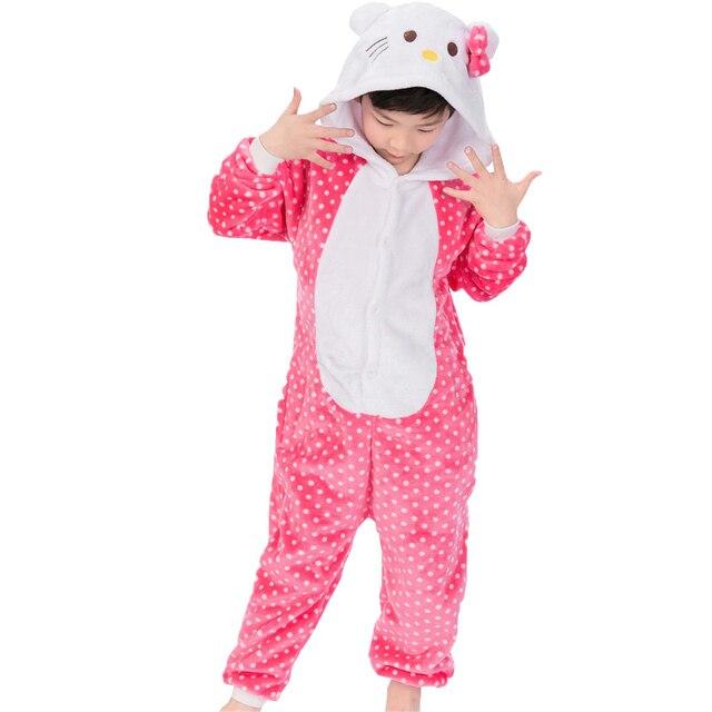 ac416f1b6ef Meisjes pyjama Flanellen Hello cartoon dieren Kat pyjama voor Meisje  kinderen winter goedkope baby pyjama kinderen