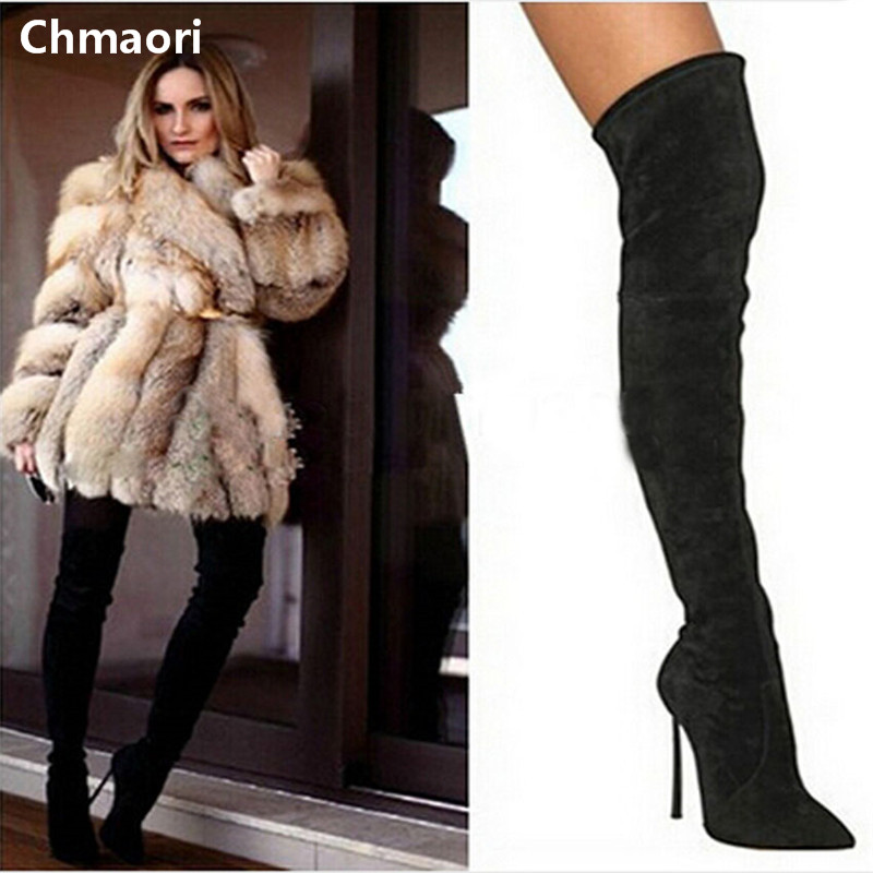 newest design black suede leather pointed toe over the knee winter boots woman fashion thigh high boots woman motorcycle boots 2017 spring autumn newest design elegant brown suede concise pointed toe high heeled over the knee boots