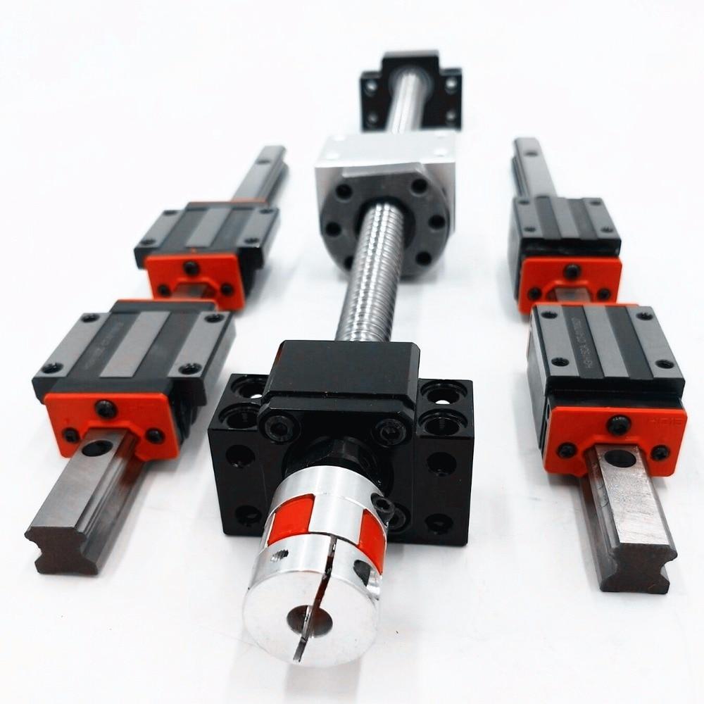HBW20CLinear Rail hbh20-350/1200/1800 мм + SFU2005-350mm + sfu2010-1150/1700/1700 мм ballscrew комплекты + BK BF15 + муфта для ЧПУ комплект