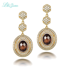 l&zuan 925 Silver Smoky Quartz drop earrings long for Woman 5.36ct natrual Round brown Crystal Gemstones Fine Jewelry