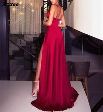 Xnxee 2018 Sexy side split maxi dress solid sexy deep v neck backless evening party elegant clubwear spaghetti strap dresses цена и фото