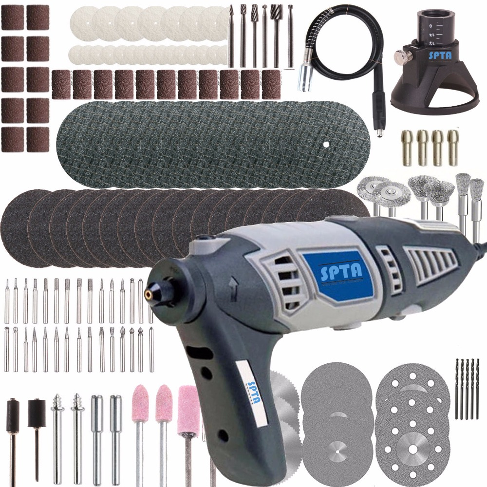SPTA 110V/220V 190W Variable Speed Dremel Rotary Tool Electric Mini Drill with Flexible Shaft and 133pcs Accessories For Dremel tasp 220v 130w electric dremel rotary tool variable speed mini drill with flexible shaft and 175pc accessories storage bag