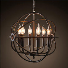 American Nordic Candle Chandelier Retro Round Iron Restaurant Light Birdcage Bar Cafe Chandelier led lighting fixture led lamps(China)