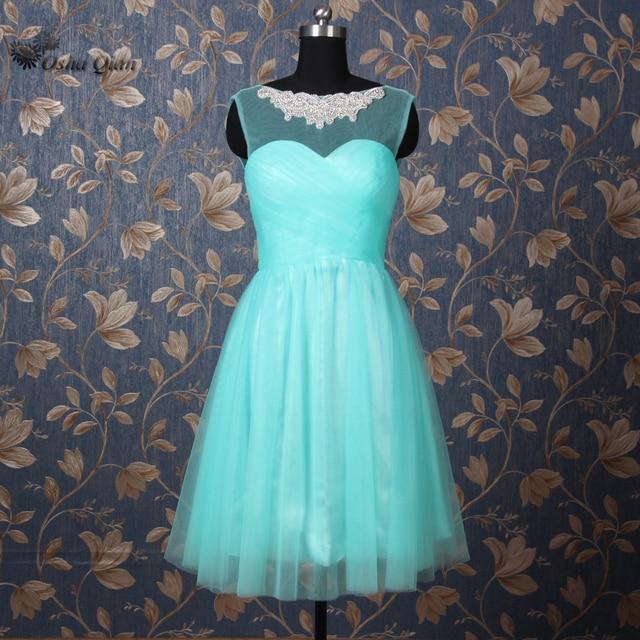 Green Short Bridesmaid Dresses Rhinestones Wedding Guest Dress Party ...
