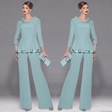 Estшифон брюки для мам костюм Украшение Колье длинный рукав с бусинами и блестками два предмета для пригласительные на свадьбу платье