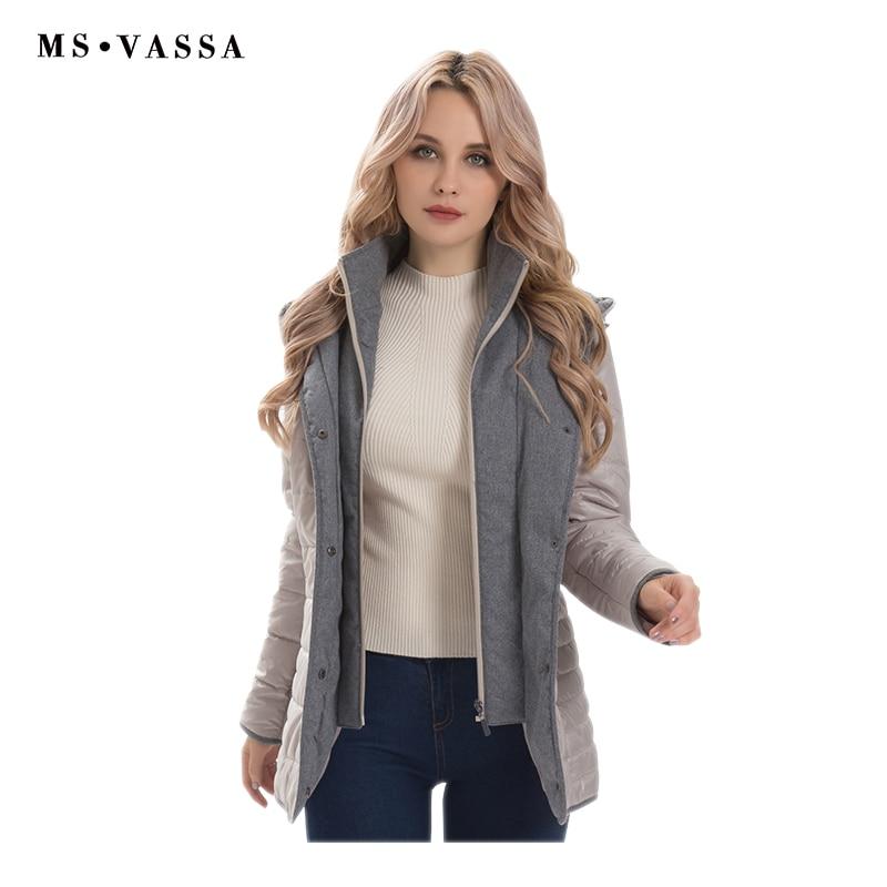 MS VASSA Women jacket 2019 Spring Winter Parkas fashion Ladies coats with hood quilting outerwear plus