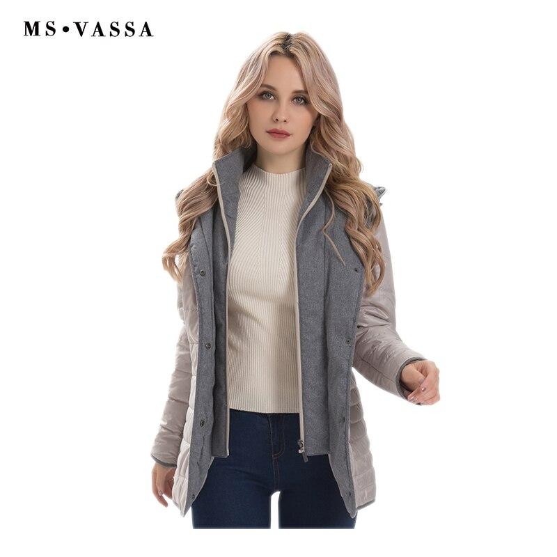 MS VASSA النساء سترة 2019 الربيع الشتاء ستر أزياء السيدات معاطف مع هود اللحف قميص زائد حجم 5XL 6XL 7XL-في سترات فرائية مقلنسة من ملابس نسائية على  مجموعة 1