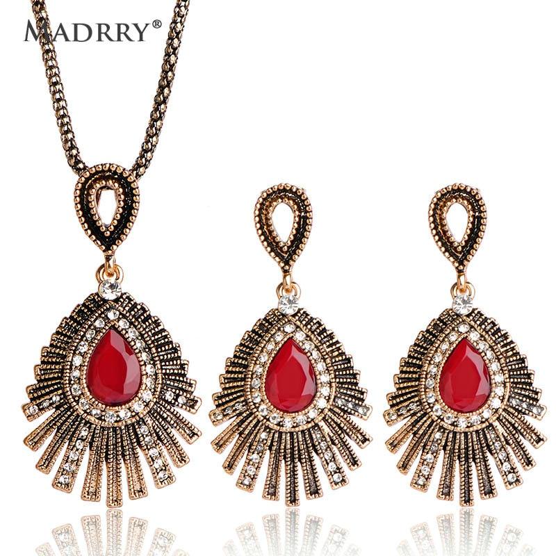 35c8d59a8fa1 Conjuntos de joyería de fiesta étnica gitana Vintage collar y pendientes  Egipto mujeres boda Bijoux rojo verde Colar Brincos - www.salleram.ga