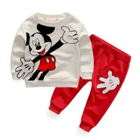 Spring 2016 New Children Suit Baby Clothes Cotton Unisex Boy Lovely Suit Jacket Trousers Two Children