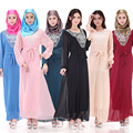 Muslim women dress abaya pure with lace patchwork high waist long sleeved Arab hui traditional costume 6 colors chiffon vestidos