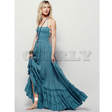 Summer Crinkly Strapless Extratropical Maxi Dress Halter Neck Tie Beach Dresses Raw Seam Hem CUERLY With Low Strappy Back high low raw hem marled knit tee dress