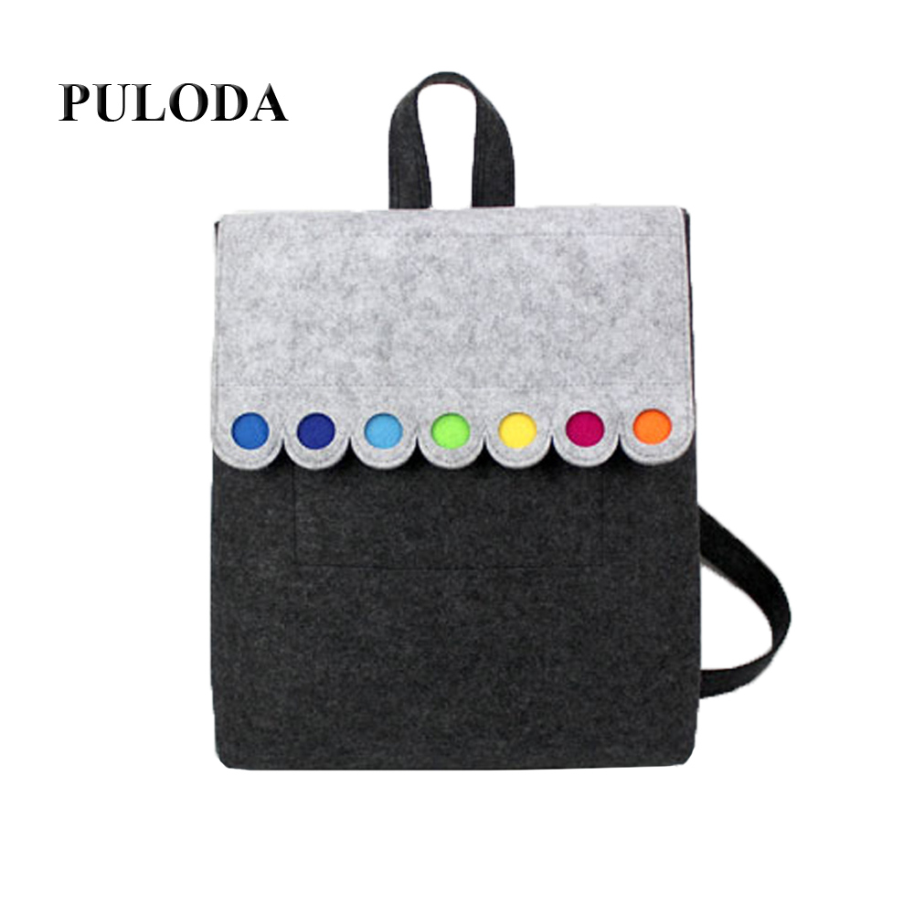 Felt Backpack With Colorful Dots Grey Lovely Handmade Backpack Fashionable Big Size BackpackC005 local focal fashionable handmade with delicate handbag