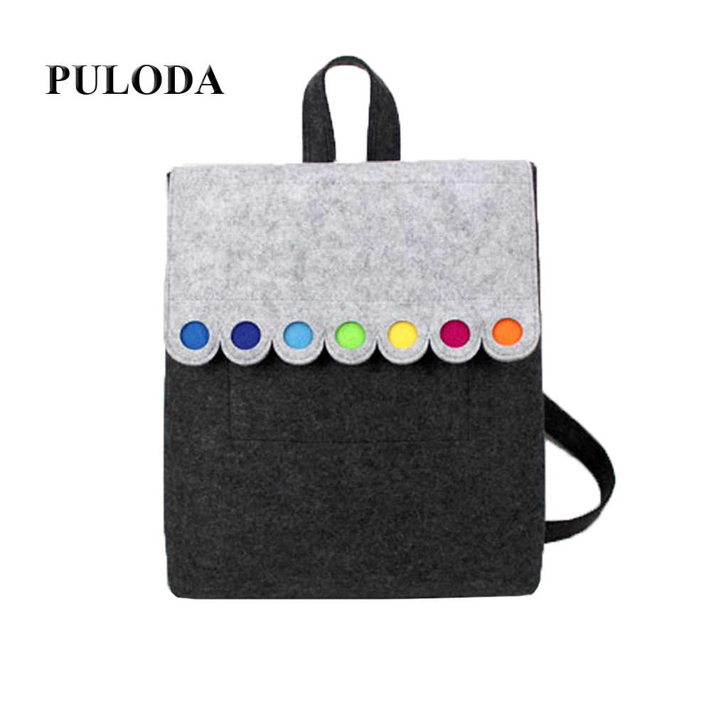 Felt Backpack With Colorful Dots Grey Lovely Handmade Backpack Fashionable  Big Size BackpackC005 e8a658fc13b4b