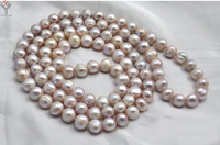 Women Jewelry 10mm pearl 32'' 80cm long necklace light purple baroque pearl handmade real natural freshwater pearl gift