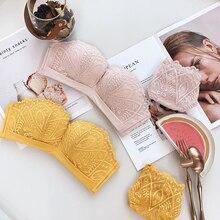 Venda quente lingerie sexy feminino sem costura 1/2 xícara push up underwear cor pura conjunto de sutiã amarelo meninas intimate sutiã e calcinha conjuntos