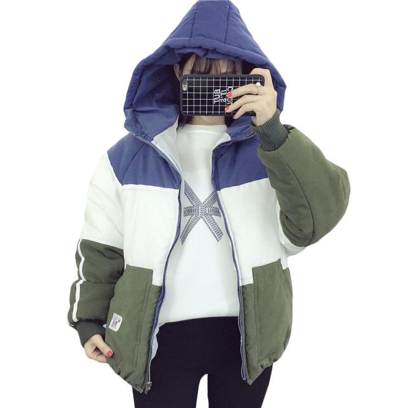 2017 Junior High School Student Winter Coat Cotton Padded Parkas Jacket New Short Hooded Female Warm Patchwork Parka Women XH577 цены онлайн