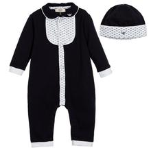 New Baby two piece romper suit Baby infant Leak foot long sleeve gentleman jumpsuits Hat set