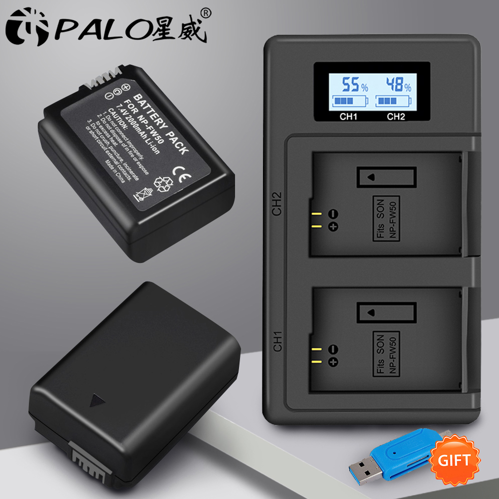 PALO 2pcs 2000mAh NP-FW50 NP FW50 Camera Battery + LCD USB Dual Charger for Sony Alpha a6500 a6300 a6000 a5000 a3000 NEX-3 a7RPALO 2pcs 2000mAh NP-FW50 NP FW50 Camera Battery + LCD USB Dual Charger for Sony Alpha a6500 a6300 a6000 a5000 a3000 NEX-3 a7R