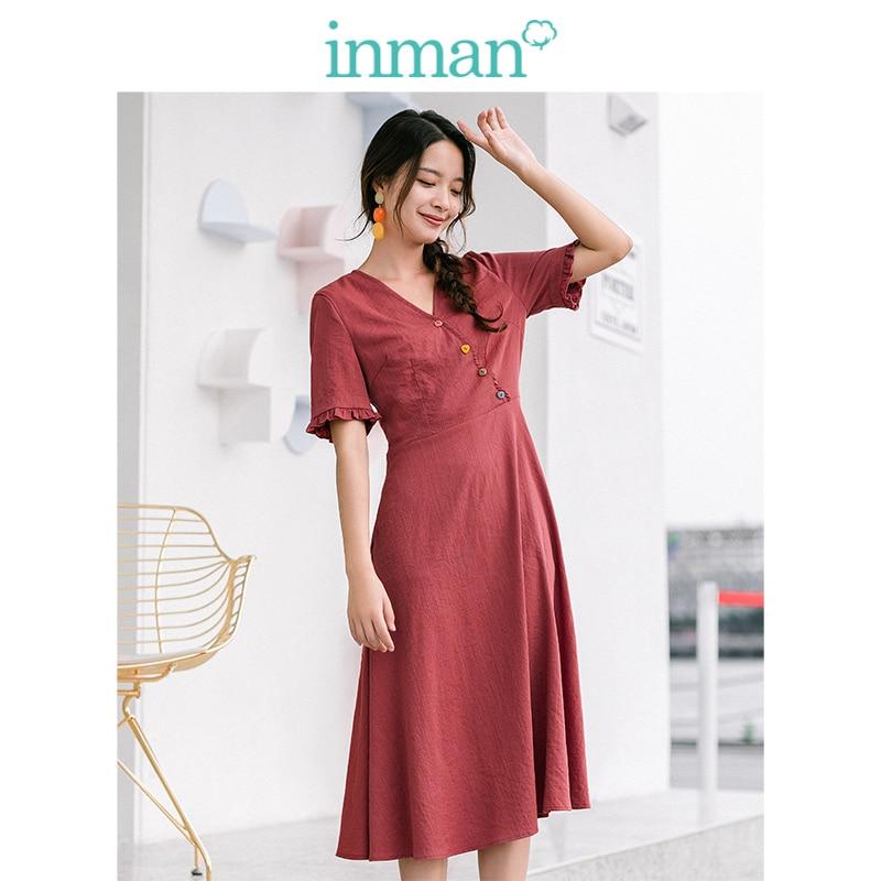 INMAN Summer Elegant V-neck Colorful Button Defined Waist A-line Romantic Solid Women Dress