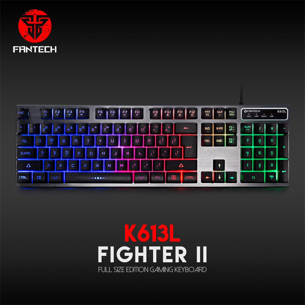 Fantech K613L Professional USB Game Keyboard LED Backlit 104-Key Wired Game Keyboard Waterproof Mechanical Hand Keyboard
