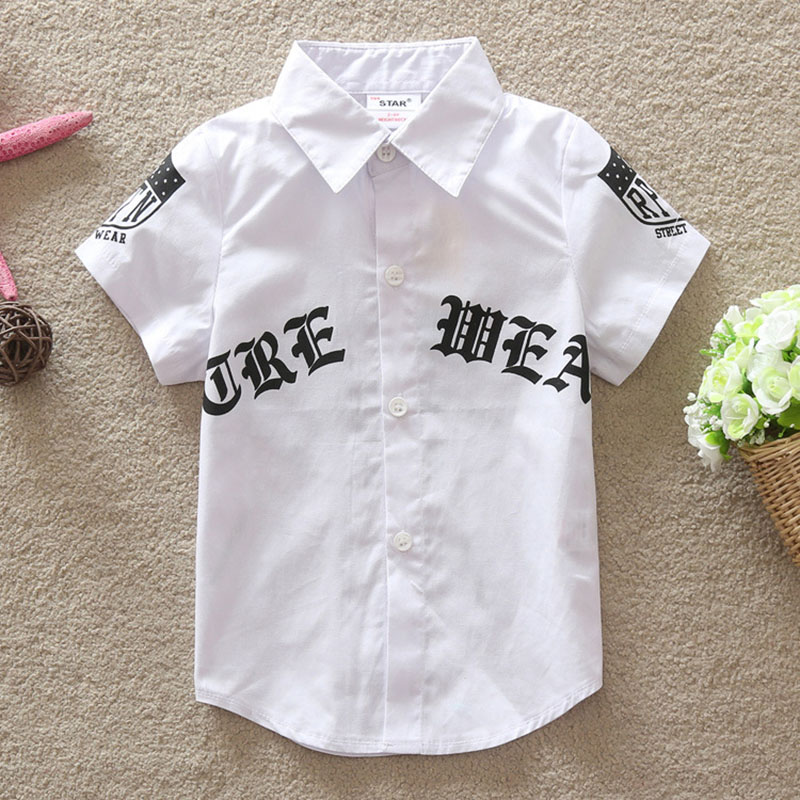 Boys Cotton Shirt 2018 Summer Short Sleeve Shirts Children Comfortable Top Print Letter Kids Casual Clothing цена 2017