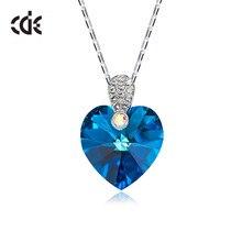CDE القلب قلادة مزين بلورات كريستال من سواروفسكي قلادة قلادة سلسلة نسائية قلادة مجوهرات الزفاف Collares هدية
