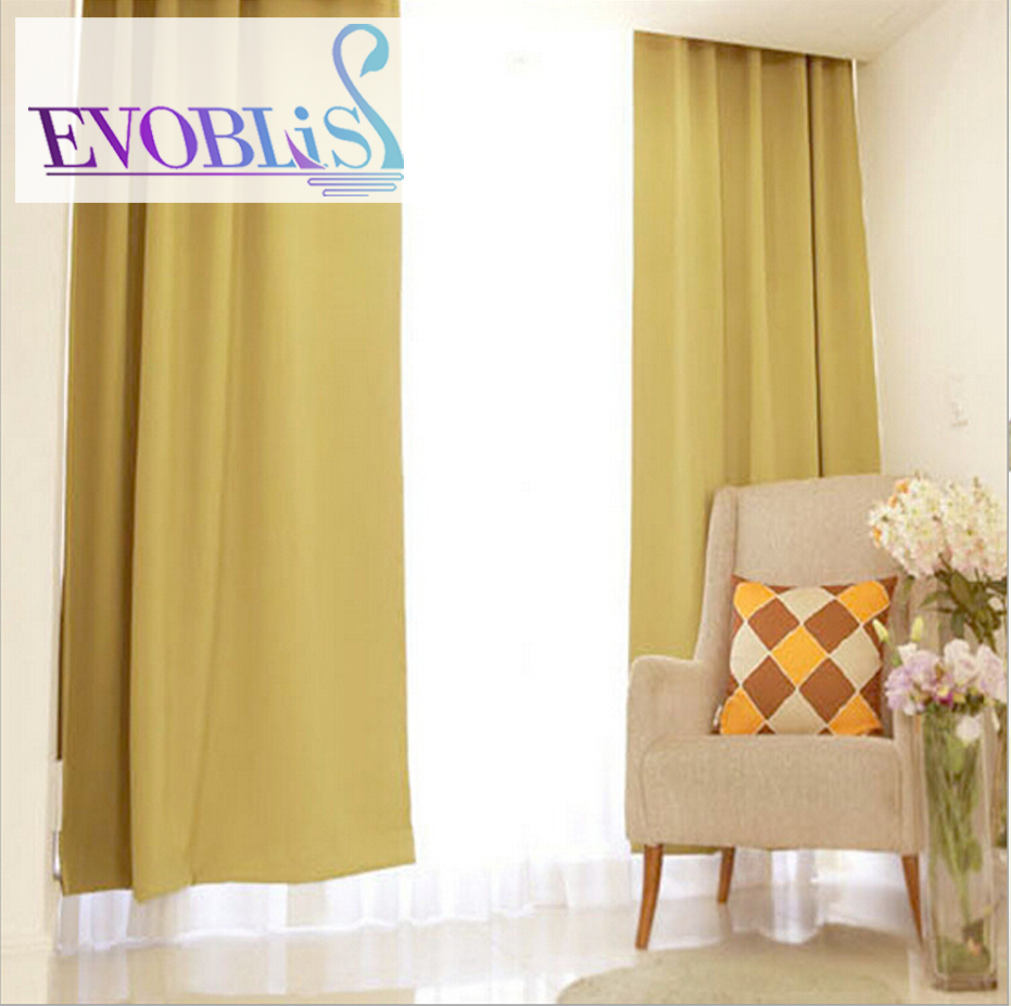 The New Korean Modern Minimalist Ginger Yellow Solid Full Blackout Curtains Custom Cloth