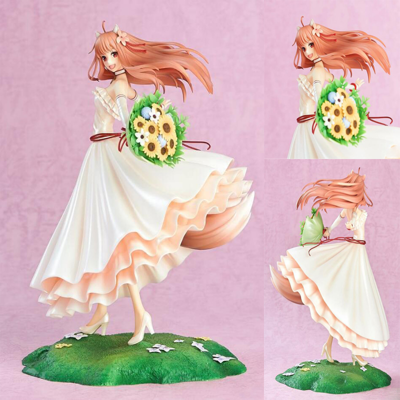 Anime Spice and Wolf Holo wedding dress action figure painted 1/8 scale collection model figures toy gift with box Y7661 20cm figurine japanese anime spice and wolf holo pvc action figures sexy girl model toys gift