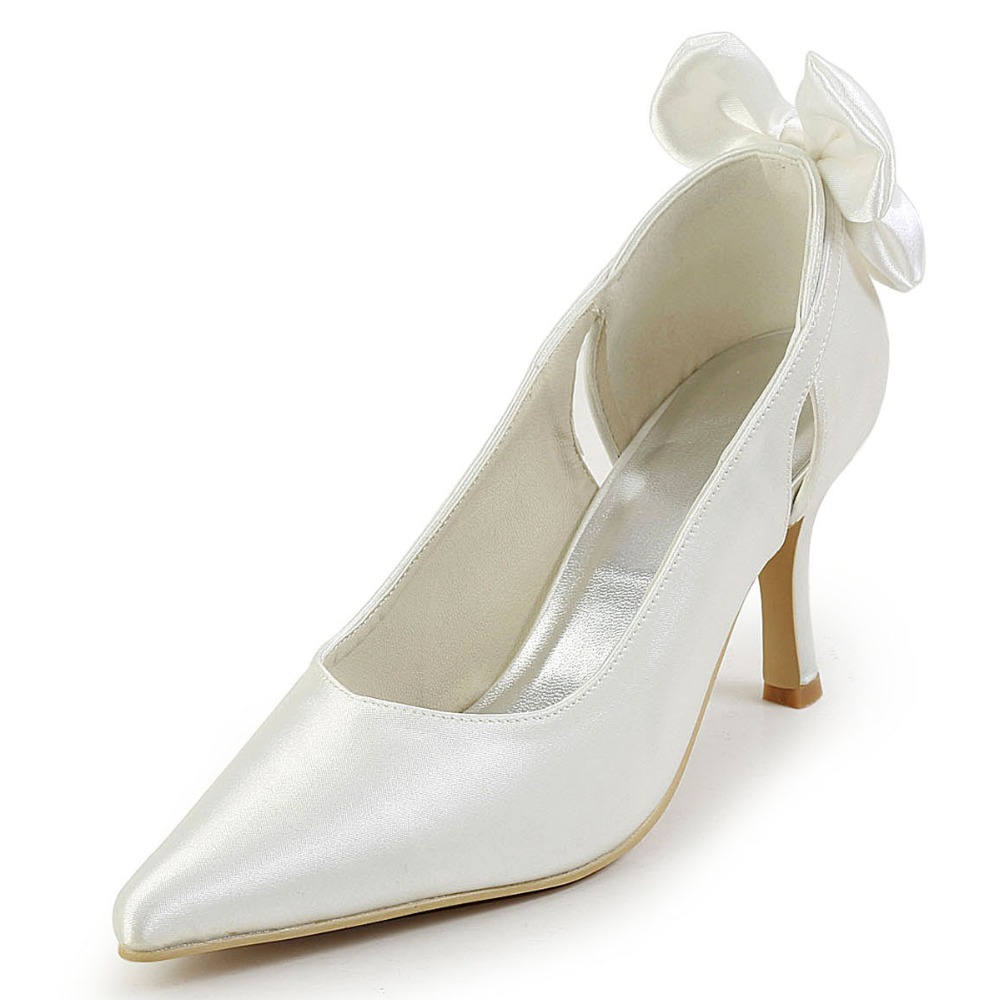 EP2072 Woman Bride Ivory White Wedding Shoes Pointy Toe