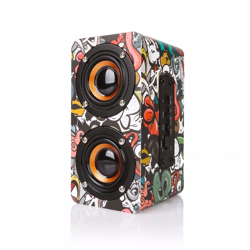Wooden Portable Bass Sound Bluetooth Speaker Support AUX TF Card Speakers For Phone PC