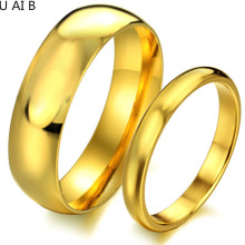Glossy 18k gold-plated titanium steel jewelry couple wedding rings pair his and hers promise ring sets gift