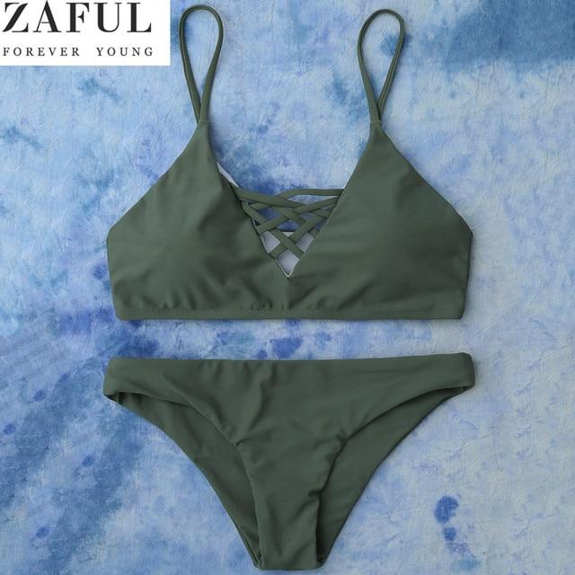 5da8212c4d ZAFUL 2018 Push Up Swimwear Brazilian Style Bikinis Sets Women Lace Up  Bikini Sexy Bandage Solid