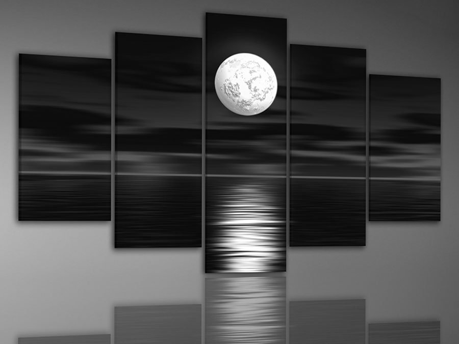 Hand Painted Oil Wall Art Sea Full Moon Night Home Decoration Abstract Landscape Painting On Canvas Match Framework DY 057 In Calligraphy