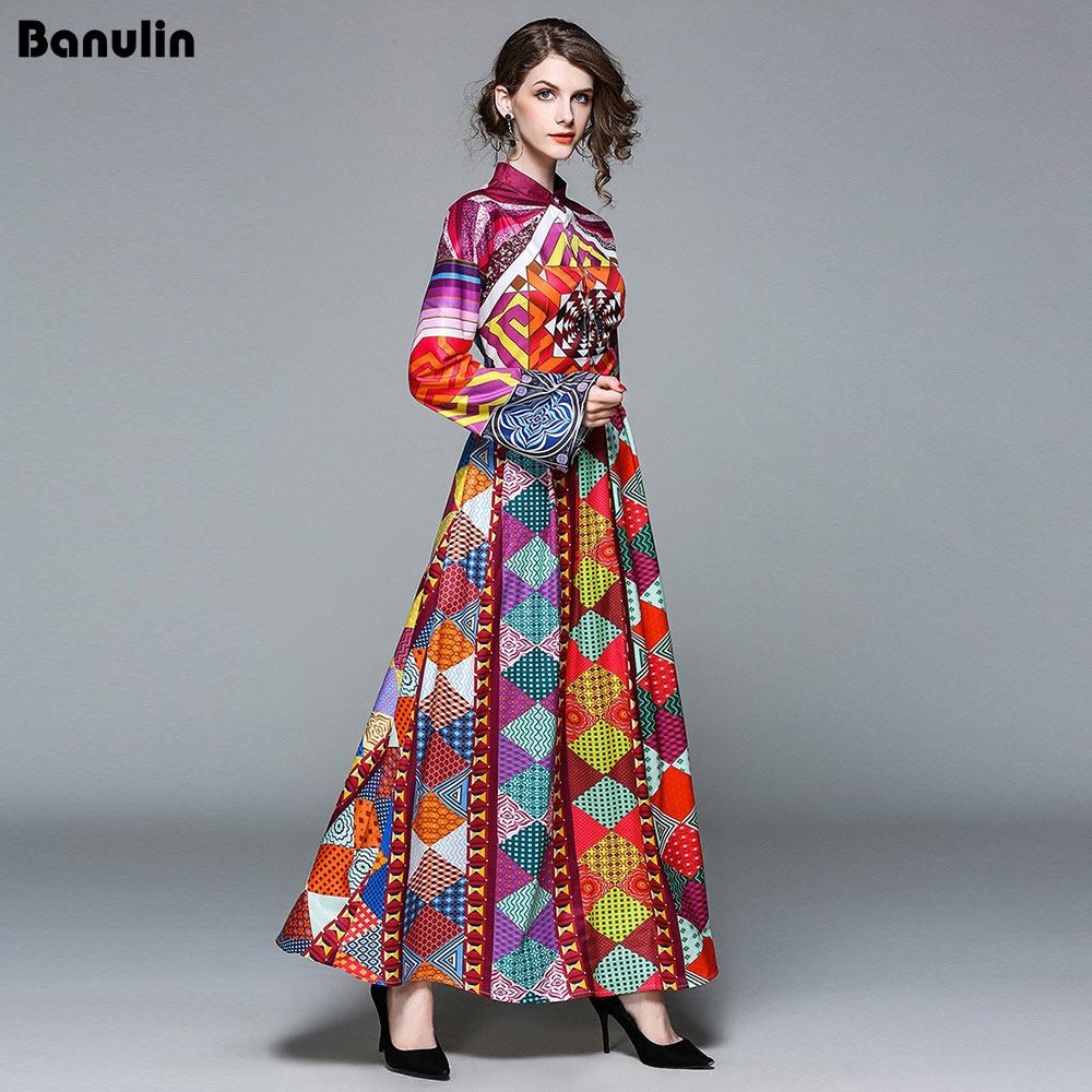 Banulin High Quality New 2018 Autumn Fashion Runway Maxi Dresses Women s Long Sleeve Printed Tribe