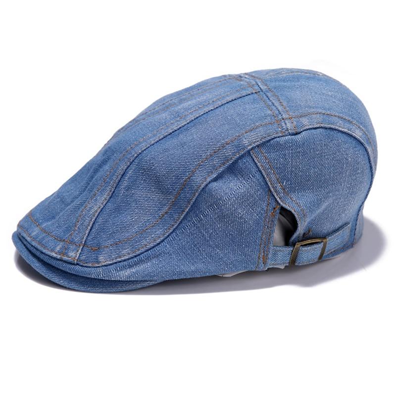 New Summer Men Cowboy Cap Boinas Vintage Denim Hat Berets Hat For Womens Mens Driving Beret Buckle Flat Cabbie Causal Caps