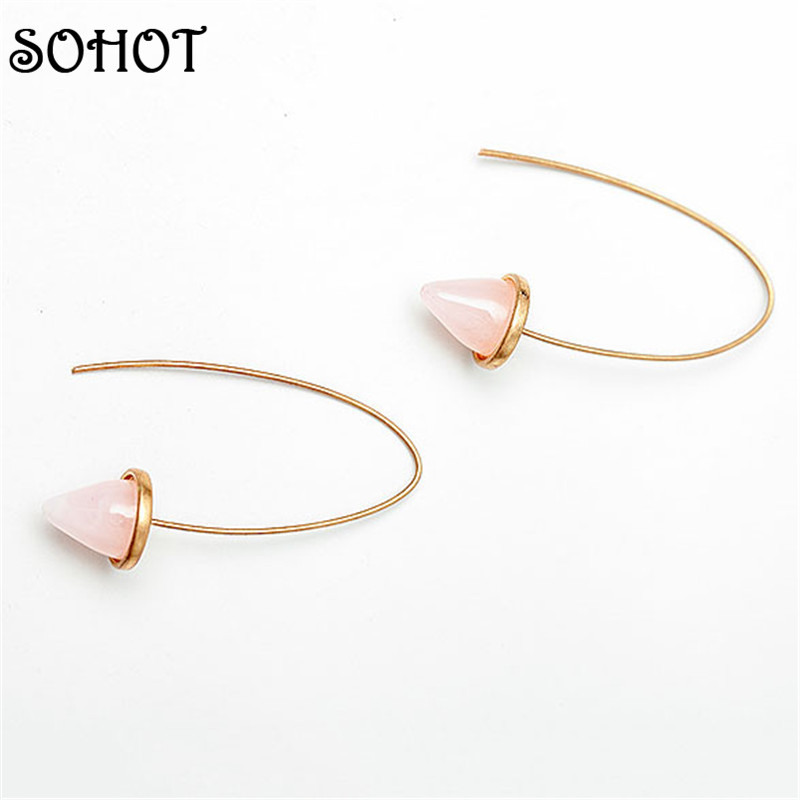 SOHOT Unique Natural Stone Geometry Earrings Gold Color Dangle Stud Ear for Trendy Women Girl