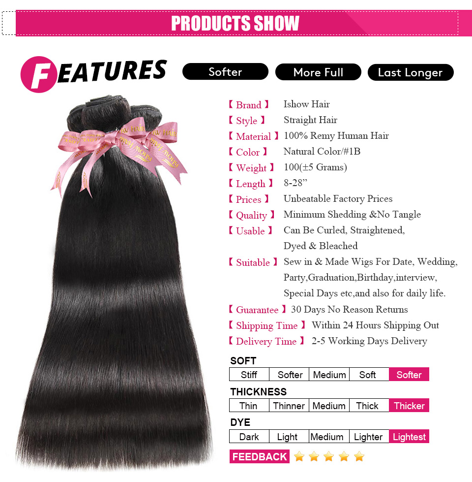 ishow straight remy human hair weave (2)