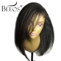 BEEOS Yaki Peluca Recta Corta Bob Frente Del Cordón Del Pelo Humano pelucas de Las Mujeres Negras Pelucas del Cordón Remy Brasileño Pre Arrancó Bleacked nudos