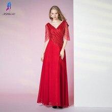 6ab56c906ff6 Red Long Chiffon Evening Dress Formal Gown Dresses V Neck Half Sleeve  Beading Robe De Soiree MSHBLUE