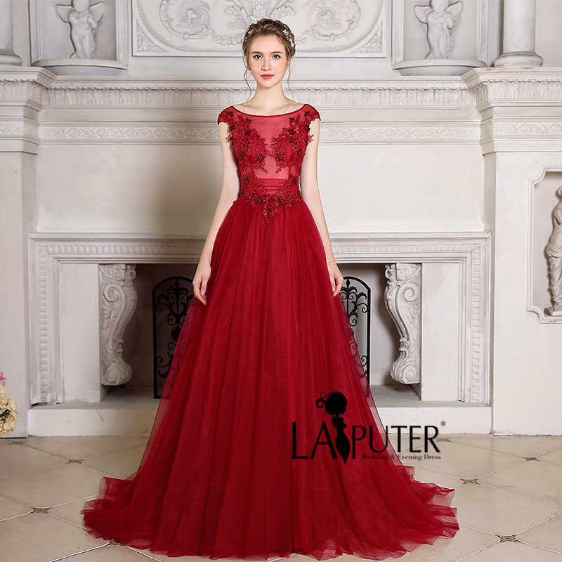 ... Robe De Soiree Burgundy Evening Dress Wine Red Cheap Prom Dresses  African Lace Party Women Formal ... 886898cf8f25