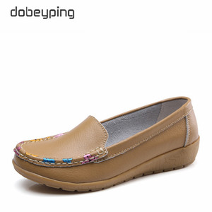 Image 4 - dobeyping Slip On Womens Loafers Spring Autumn Shoes Woman Genuine Leather Flats Women New Female Moccasins Shoe Big Size 35 41
