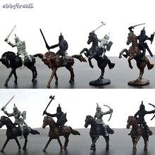 Abbyfrank 28 Pçs/set Soldado Medieval Cavaleiros Guerreiros Cavalos Modelo Figuras de Ação Brinquedos Plásticos Mini Meninos Brinquedo de Aprendizagem Para As Crianças