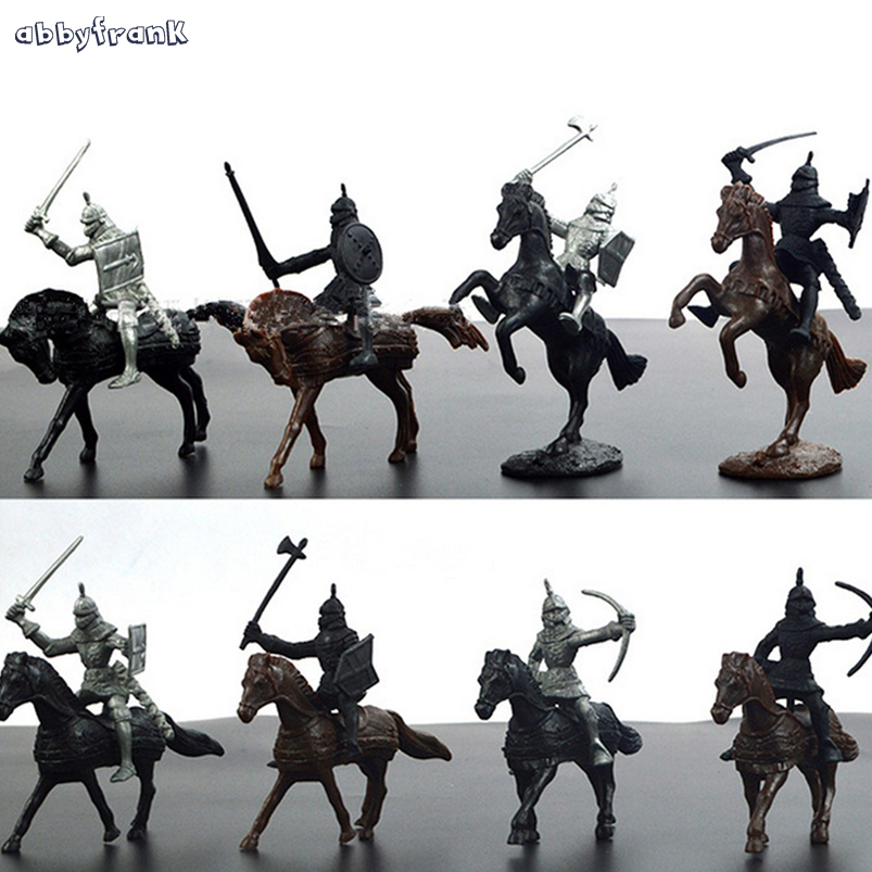 Abbyfrank 28Pcs/Set Soldier Knights Warriors Horses Medieval Model Action Figures Plastics Toy Mini Learning Boys Toy For Kids