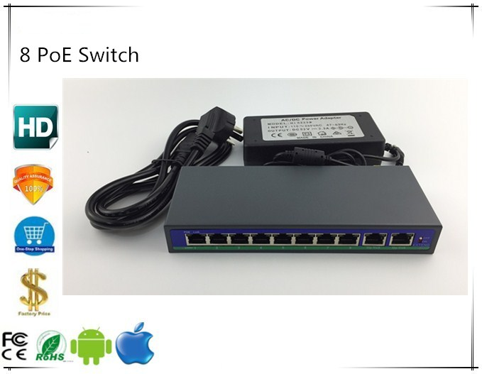10Port 48V 8 PoE Injector Power Over Ethernet Switch 120W IEEE802 3af at 1 2 3