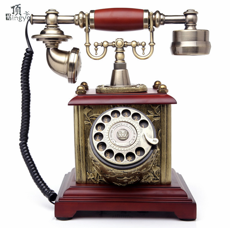 Ye are the top rotating disc antique European style wooden retro telephone home office landline telephone Decoration home art